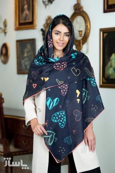 روسری نخی نگینی چاپ دیجیتال دور دست دوز-تصویر اصلی