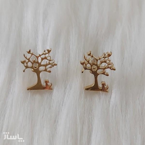 گوشواره زنانه مدل میخی طرح درخت کد tre110-تصویر اصلی