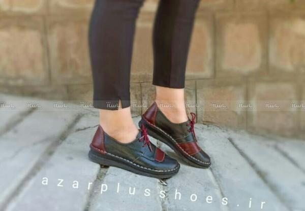 کفش مدل شانلی تمام چرم مشکی زرشکی-تصویر اصلی