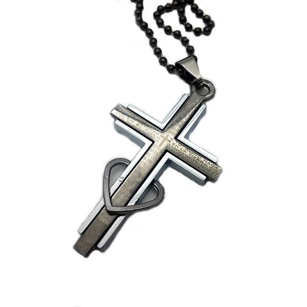 آویز مردانه استیل صلیب-تصویر اصلی
