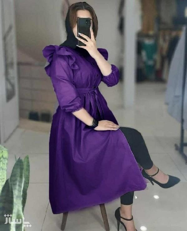 مانتو زنانه داکرون مدل مانتو بلند عروسکی دکمه دار-تصویر اصلی