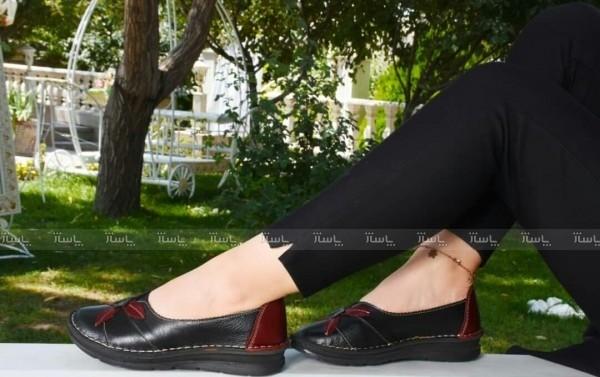 کفش مدل النا تمام چرم مشکی زرشکی-تصویر اصلی