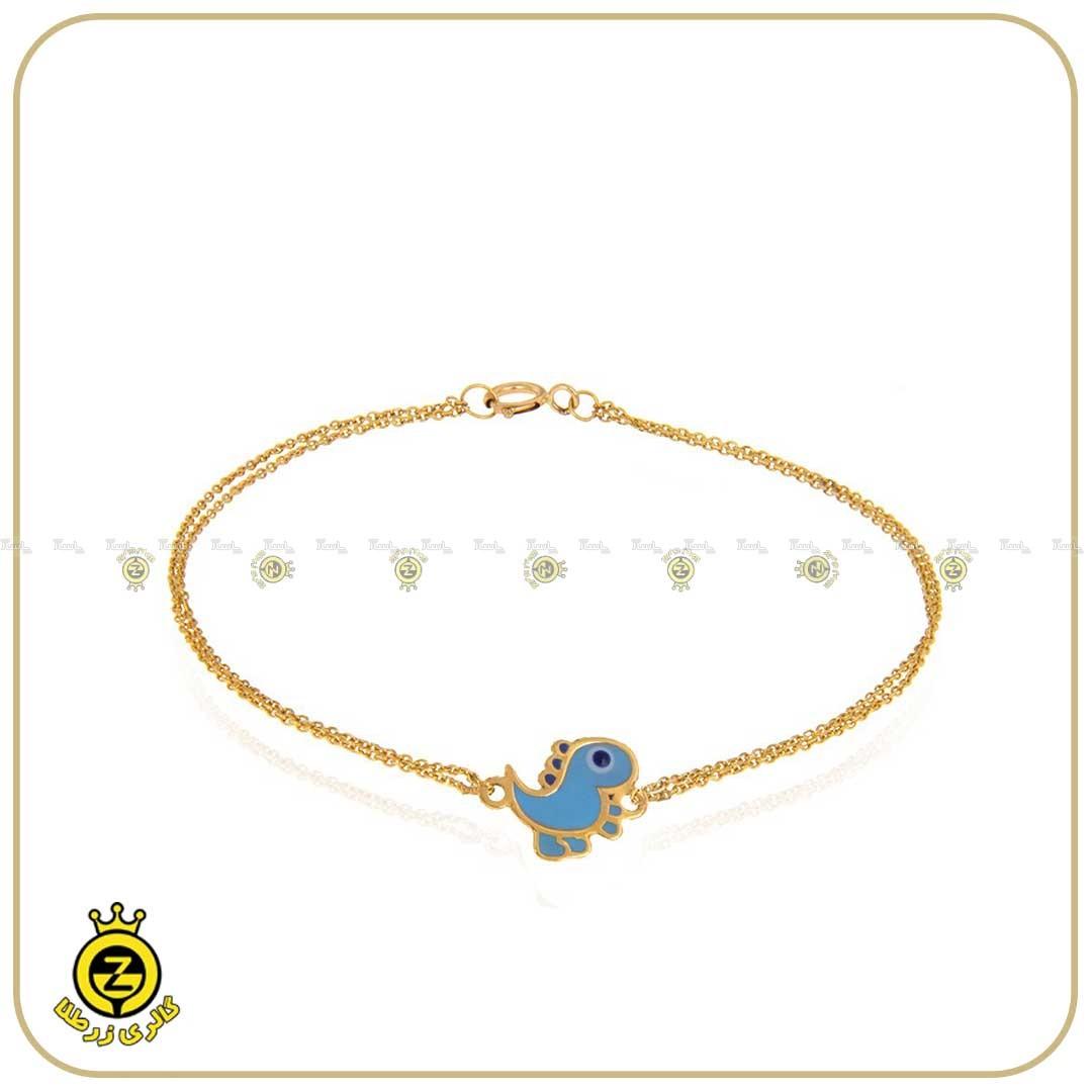 دستبند طلای کودکانه با طرح دایناسور-تصویر اصلی