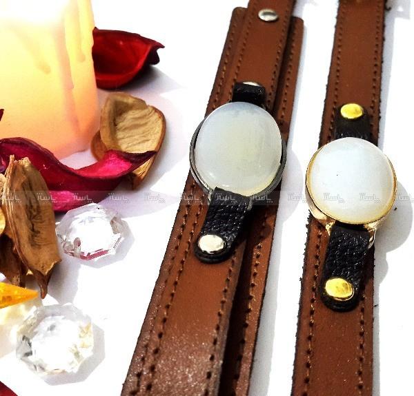 ست دستبند مردانه و زنانه چرم با نگین عقیق-تصویر اصلی