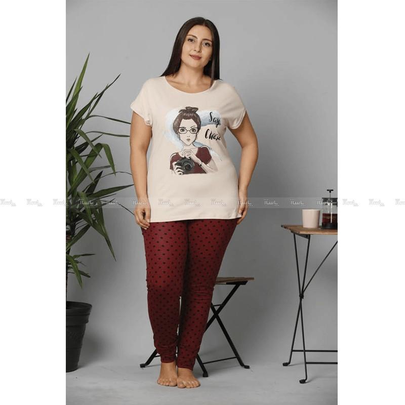 تاپ و شلوار سایز بزرگ پنبه ای سکسن طرح دختر عکاس-تصویر اصلی