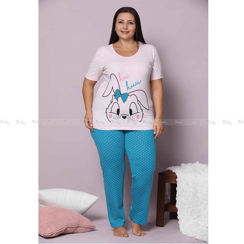 تاپ و شلوار سایز بزرگ پنبه ای سکسن طرح  خرگوش 2-تصویر اصلی