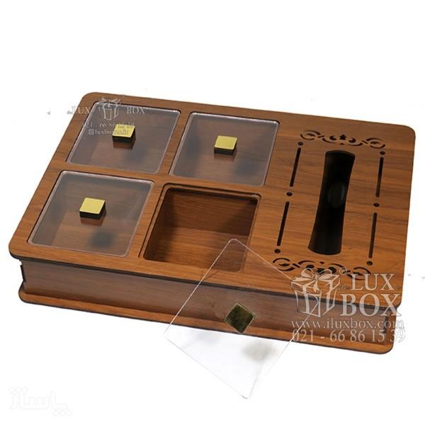 جعبه دمنوش جعبه پذیرایی جعبه چوبی لوکس باکس LB 12 - 0