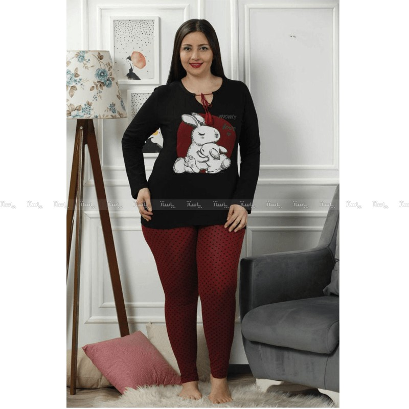 بلوز شلوار سایز بزرگ سکسن طرح خرگوش مادر-تصویر اصلی