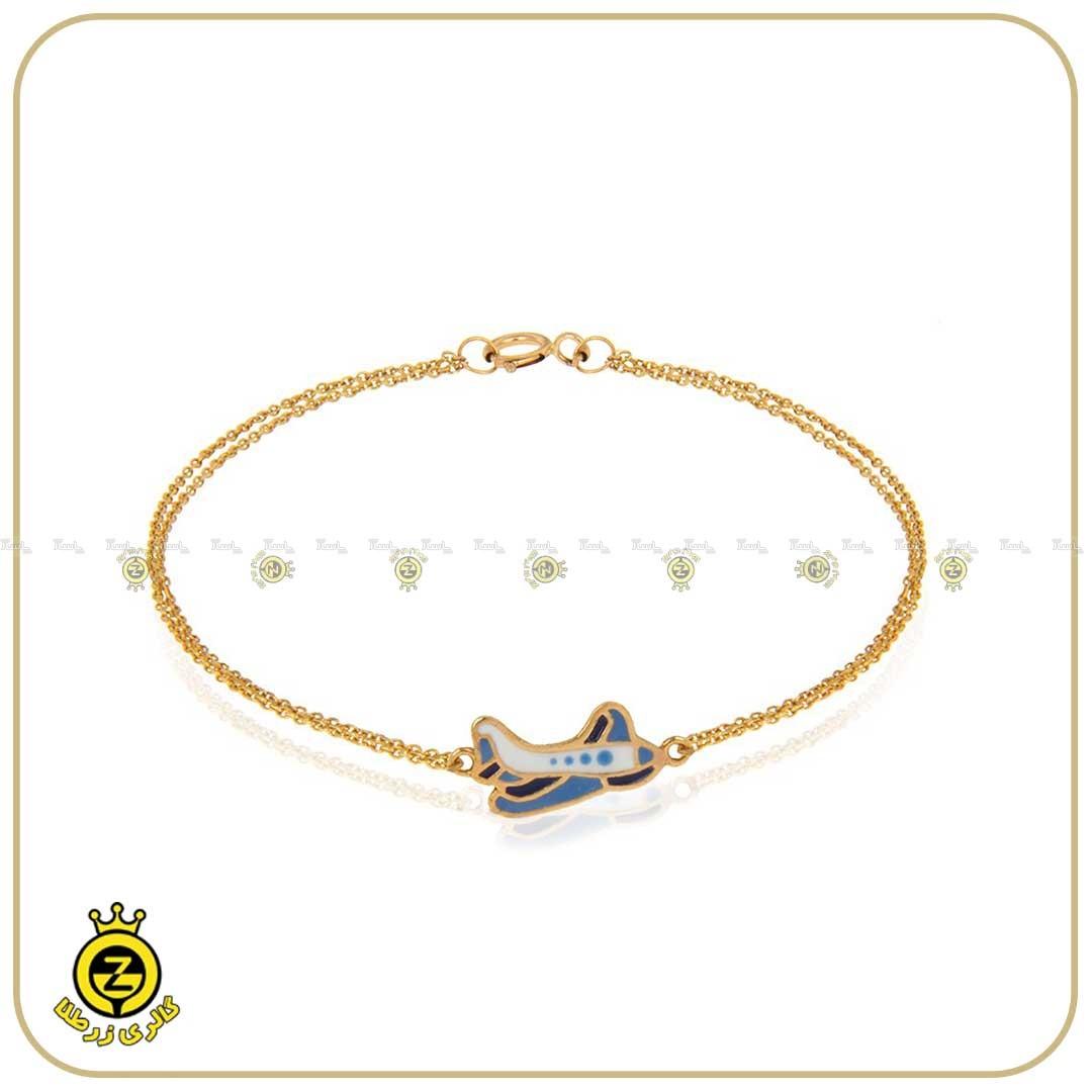 دستبند طلای کودکانه با طرح هواپیما-تصویر اصلی