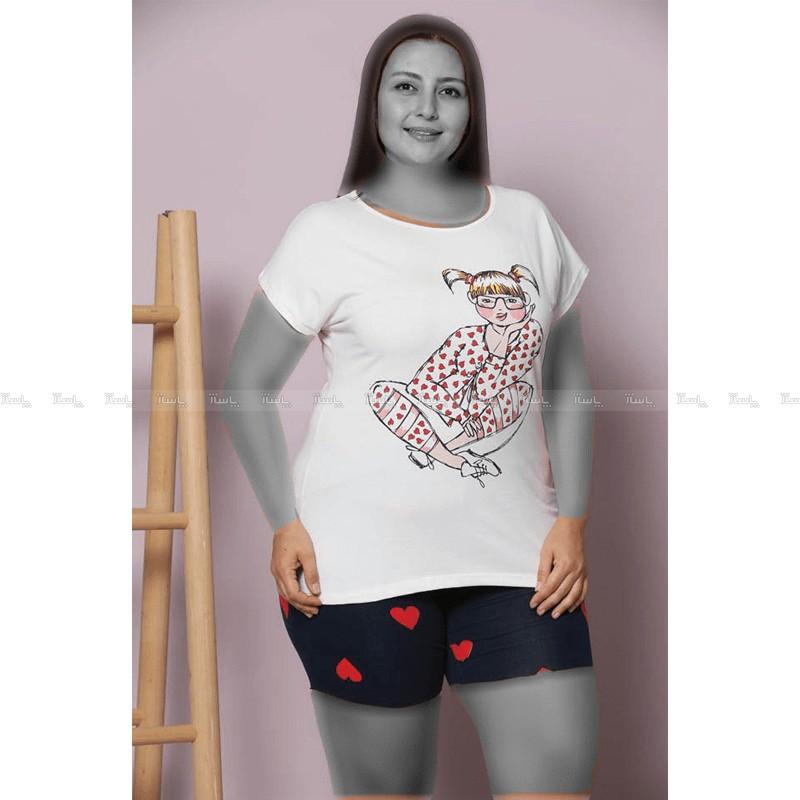 تاپ و شورت سایز بزرگ سکسن طرح دخترک-تصویر اصلی