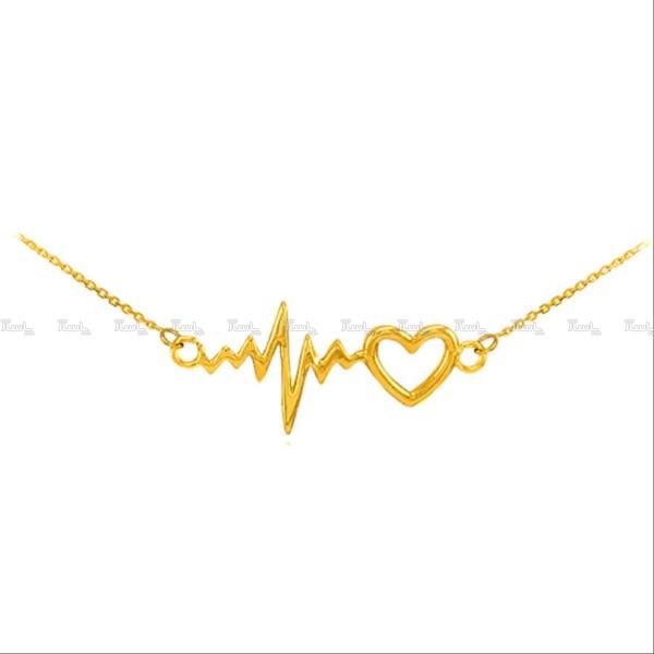 گردنبند نقره مدل ضربان قلب heartbeat طلایی-تصویر اصلی