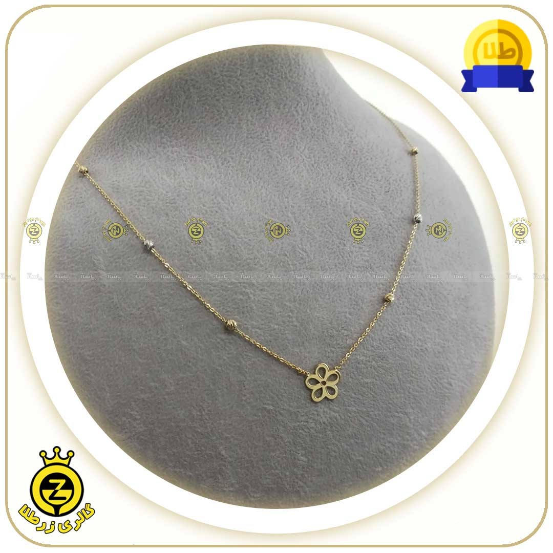 گردنبند طلا طرح گل با گوی های کوچک-تصویر اصلی