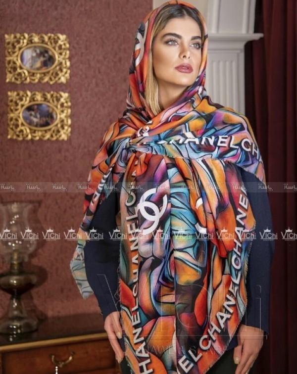 روسری نخی ریشه پرزی طرح کوبیسم چنل-تصویر اصلی
