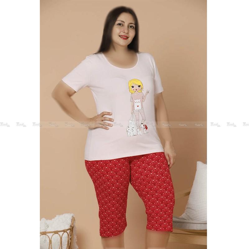 تاپ و شلوارک سایز بزرگ پنبه ای سکسن طرح دخترک 3-تصویر اصلی