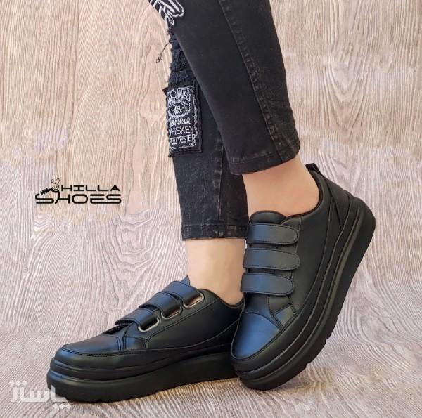 کفش کتانی زنانه سه چسب لژدار مشکی-تصویر اصلی