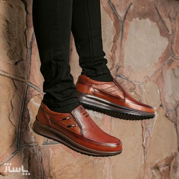 کفش تمام چرم گاوی مدل سناتور بی بند مردانه-تصویر اصلی