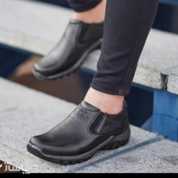 کفش چرم طبی فرزین مدل کلارک بدون بند(کشی)-تصویر اصلی