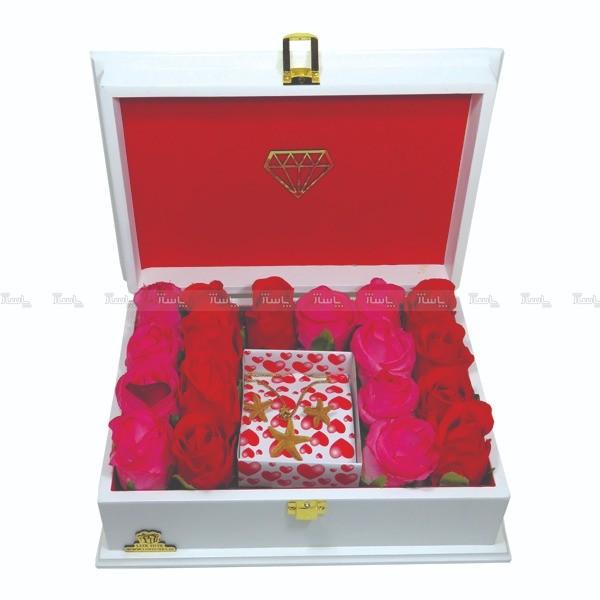 جعبه کادو ولنتاین هدیه باکس گل چوبی لوکس باکس کد LB272-تصویر اصلی