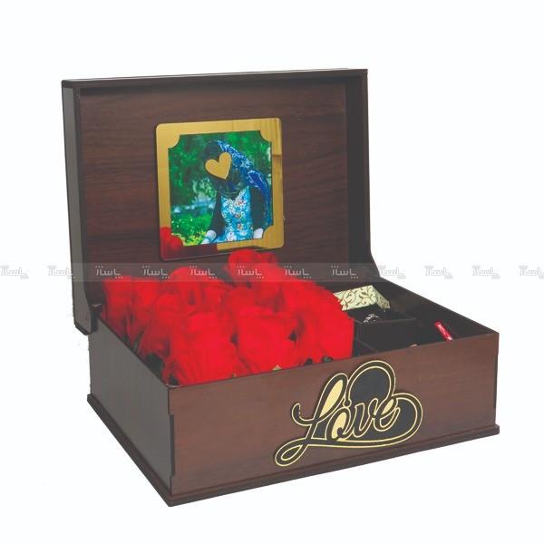 جعبه کادو ولنتاین هدیه باکس گل چوبی لوکس باکس کد LB271-تصویر اصلی