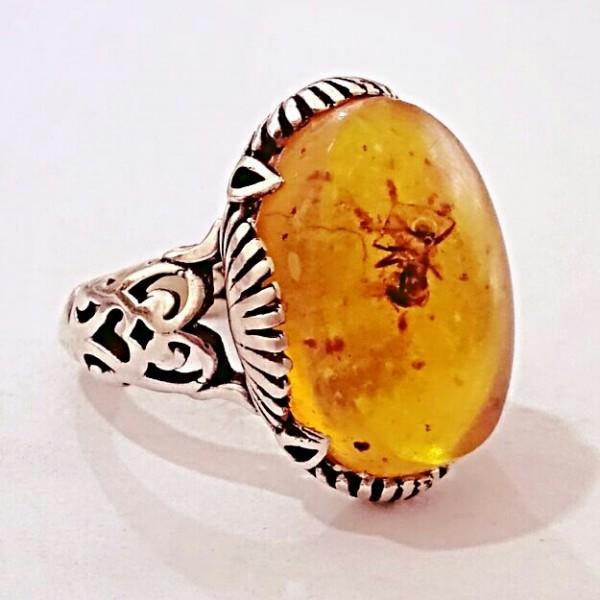 انگشتر کهربا مورچه ای-تصویر اصلی