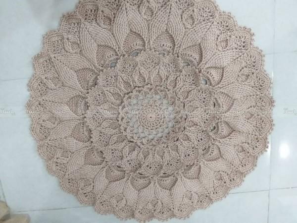 فرشینه قلاب بافی با مکرومه طرح ارکانو ( ماندالا)-تصویر اصلی