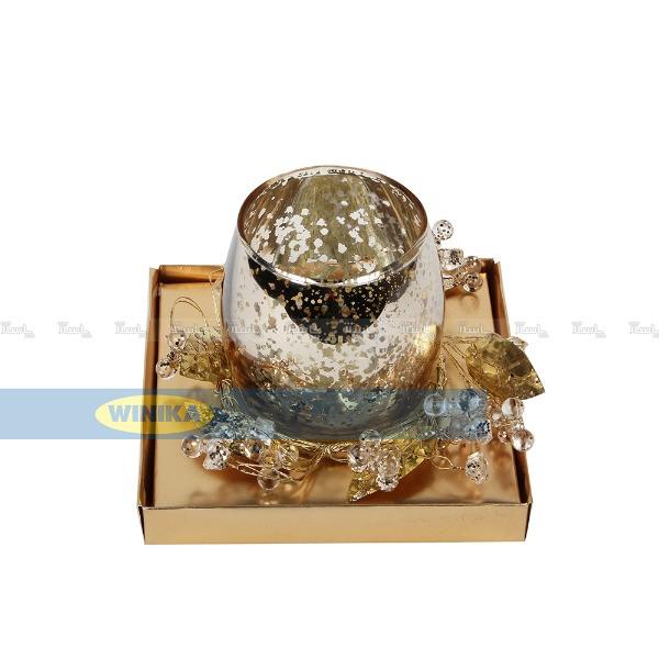 جا شمعی با حلقه گل کریستالی طلایی-تصویر اصلی