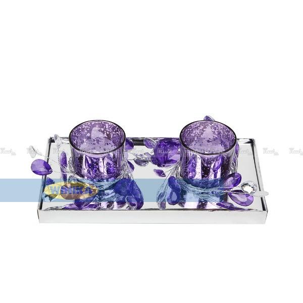 جا شمعی با حلقه گل کریستالی بسته بندی 2 عددی-تصویر اصلی