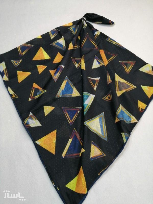 روسری نخ ابریشم دست دوز زنانه طرح هندسی3-تصویر اصلی