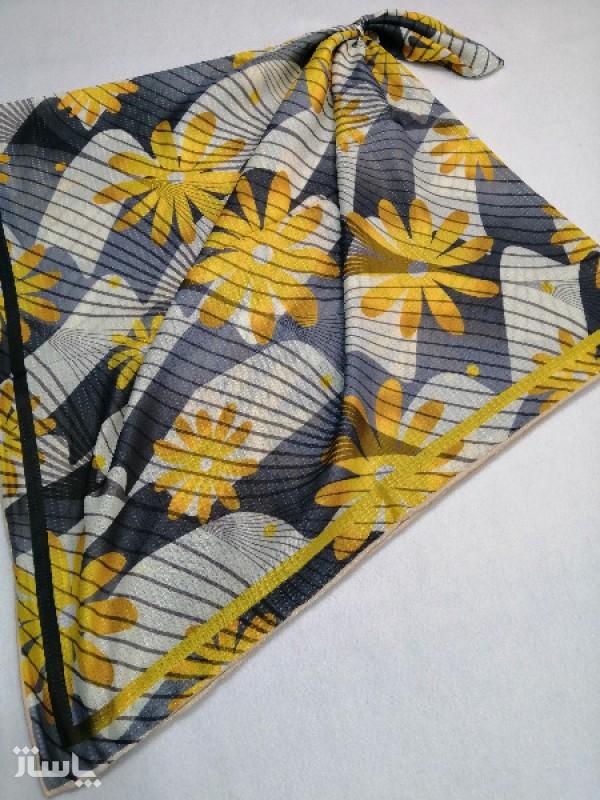 روسری نخ ابریشم دست دوز زنانه طرح گلهای بهاری 18-تصویر اصلی