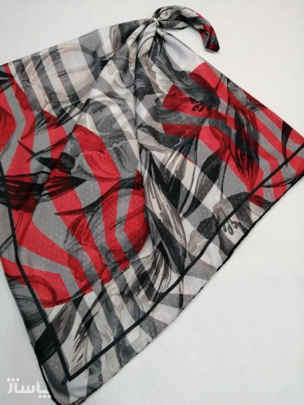 روسری نخ ابریشم دست دوز زنانه طرح خطی 11-تصویر اصلی