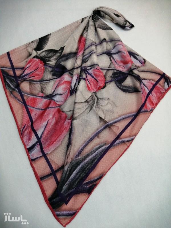 روسری نخ ابریشم دست دوز زنانه طرح گلهای بهاری 14-تصویر اصلی