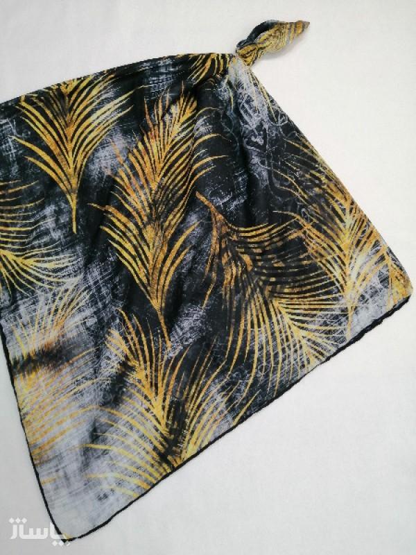 روسری نخ ابریشم دست دوز زنانه طرح خطی 14-تصویر اصلی
