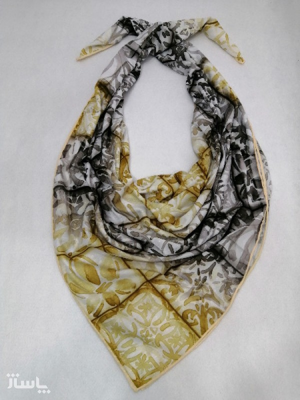 روسری نخ ابریشم دست دوز زنانه طرح خطی 9-تصویر اصلی
