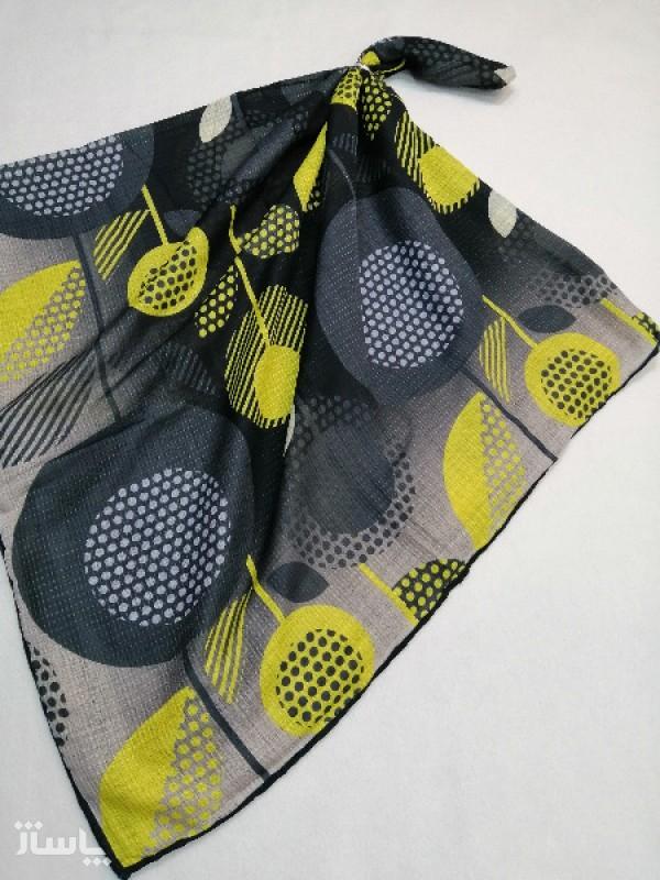روسری نخ ابریشم دست دوز زنانه طرح هندسی 6-تصویر اصلی