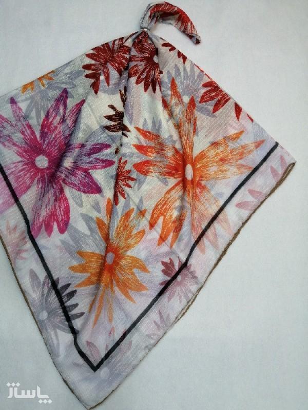 روسری نخ ابریشم دست دوز زنانه طرح گلهای بهاری 16-تصویر اصلی