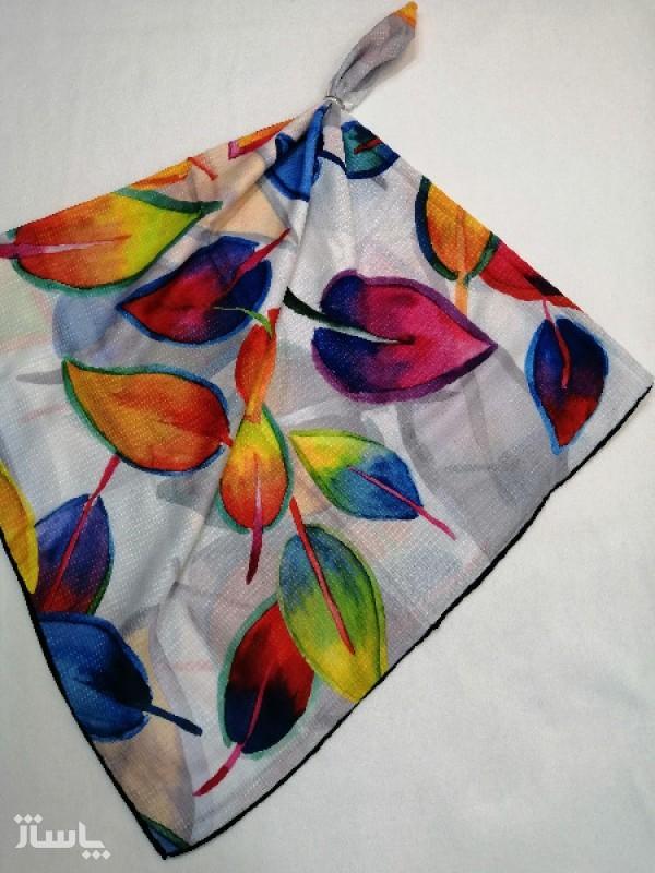 روسری نخ ابریشم دست دوز زنانه طرح گلهای بهاری 20-تصویر اصلی