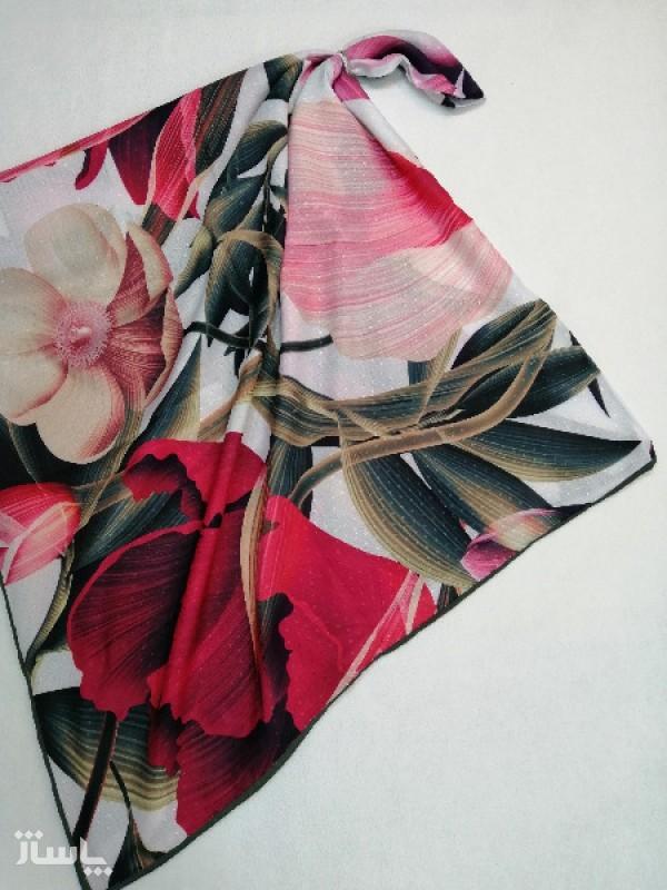 روسری نخ ابریشم دست دوز زنانه طرح گلهای بهاری 19-تصویر اصلی