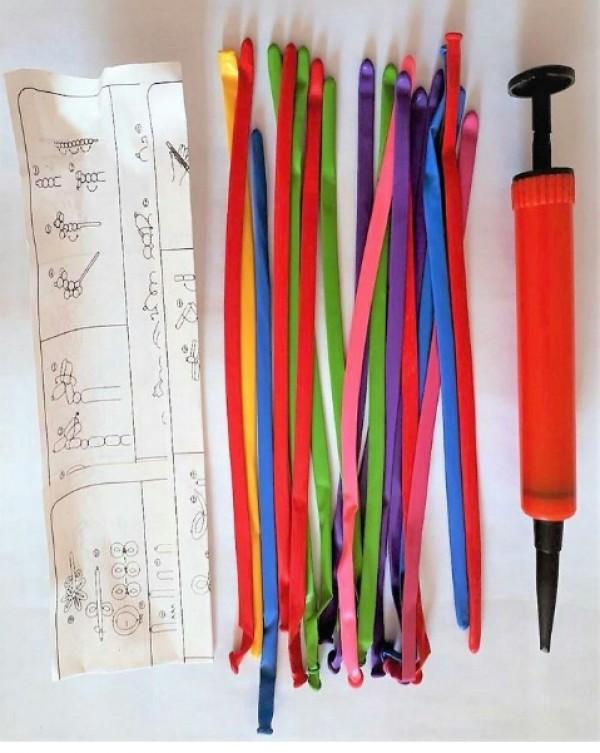 سی عدد بادکنک لوله به همراه تلمبه-تصویر اصلی