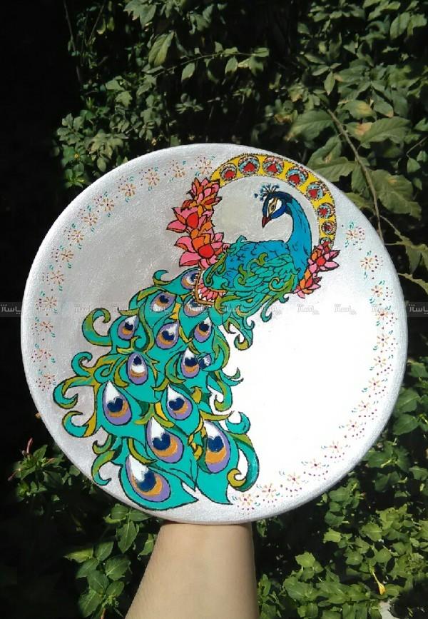 دیوارکوب سفالی طرح طاووس-تصویر اصلی