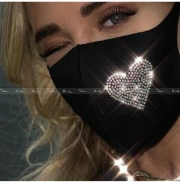 ماسک سه لایه نانو نقره طرح نگین دار قلب-تصویر اصلی