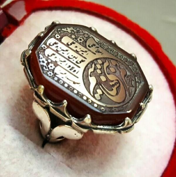 انگشتر نقره عقیق کف العباس ع-تصویر اصلی