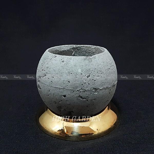 گلدان بتنی با زیرگلدانی استیل طلایی-تصویر اصلی