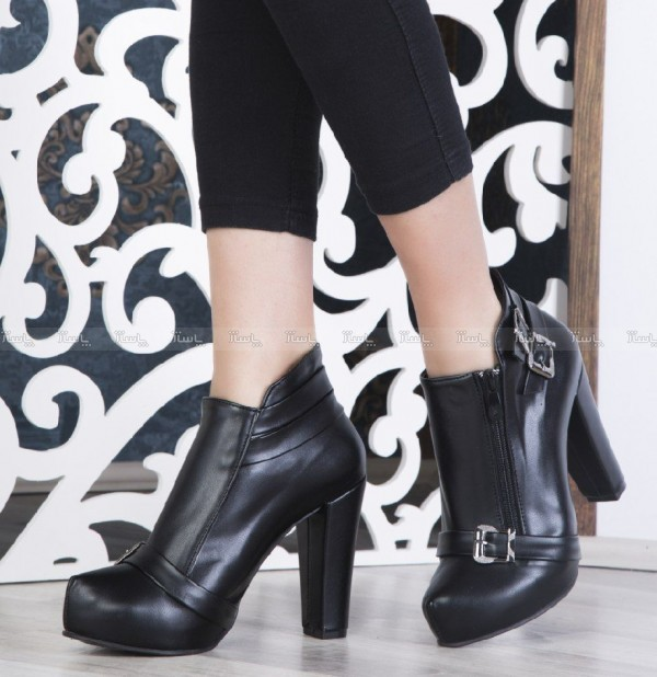 کفش نیم بوت پاشنه بلند شیک چرم صنعتیBa-تصویر اصلی