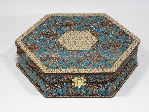 جعبه آجیل و خشکبار جعبه پذیرایی جعبه چوبی مدل ترمه و خاتم کد LB012-تصویر اصلی