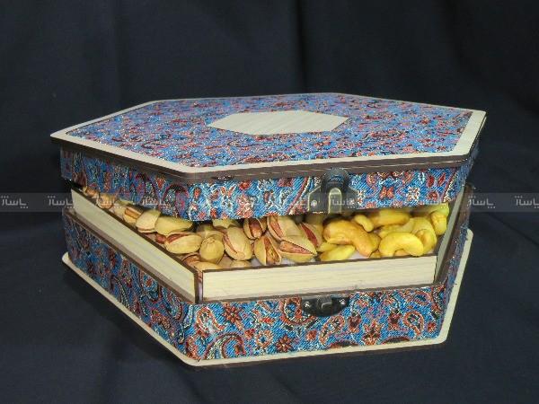 جعبه آجیل و خشکبار جعبه پذیرایی جعبه چوبی مدل ترمه کد LB013-تصویر اصلی