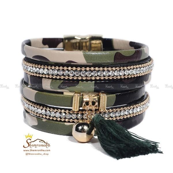 دستبند چند رشته سبز پلنگی با آویز ریش ریش BNG297G0-تصویر اصلی