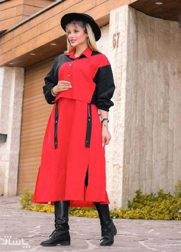 مانتو زنانه کتان مدل دوتیکه کت و پیراهن-تصویر اصلی
