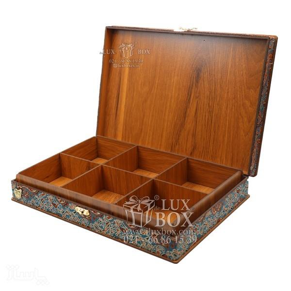 جعبه آجیل و خشکبار جعبه دمنوش پذیرایی جعبه چوبی مدل ترمه کد LB017-تصویر اصلی
