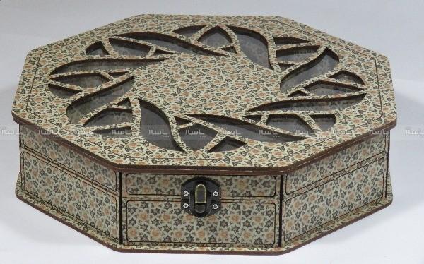 جعبه آجیل و خشکبار جعبه پذیرایی جعبه چوبی چند ضلعی مدل خاتم کد LB021-تصویر اصلی