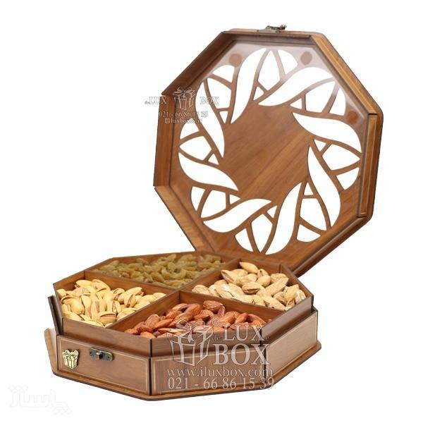 جعبه آجیل و خشکبار جعبه پذیرایی جعبه چوبی مدل چند ضلعی گردویی کد LB023